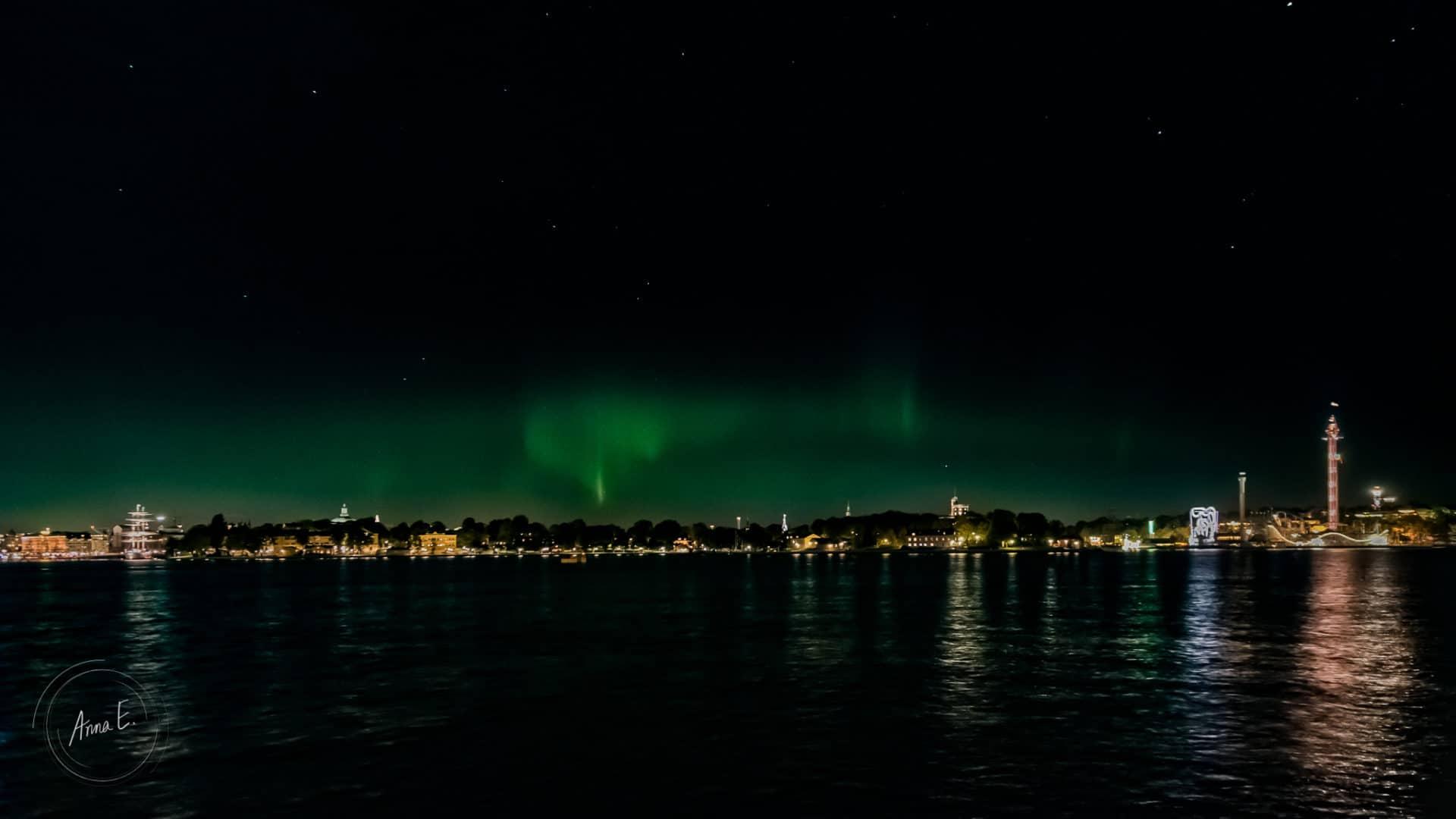 Norrsken över Djurgården i Stockholm