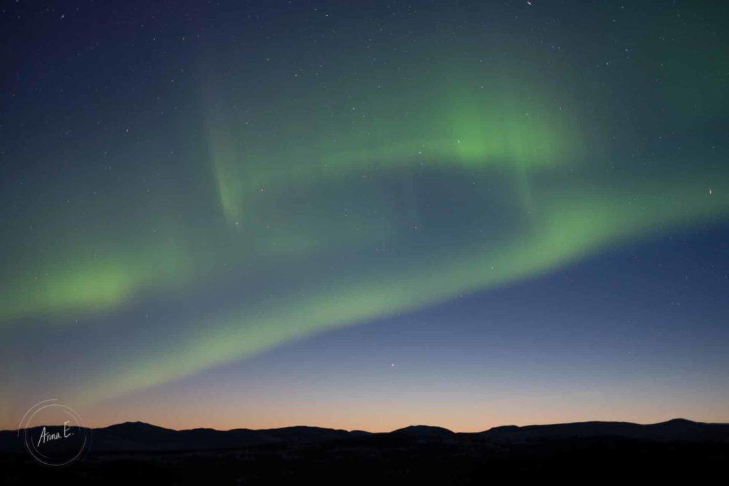 För ljus norrskensbild